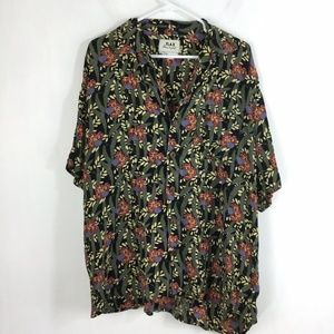 Flax Floral Button Up Short Sleeve Collared Blouse